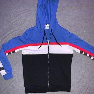 PINK Colorblocked Zip up Hoodie